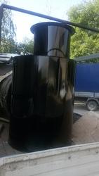 Кессон металлический с круглой горловиной с монтажной гильзой